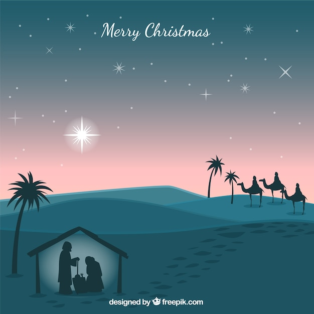 Nativity scene silhouettes background Free Vector
