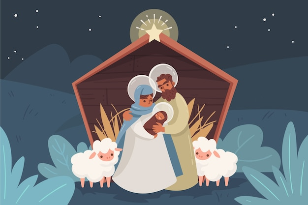 Nativity scene with animals and family outdoors Free Vector