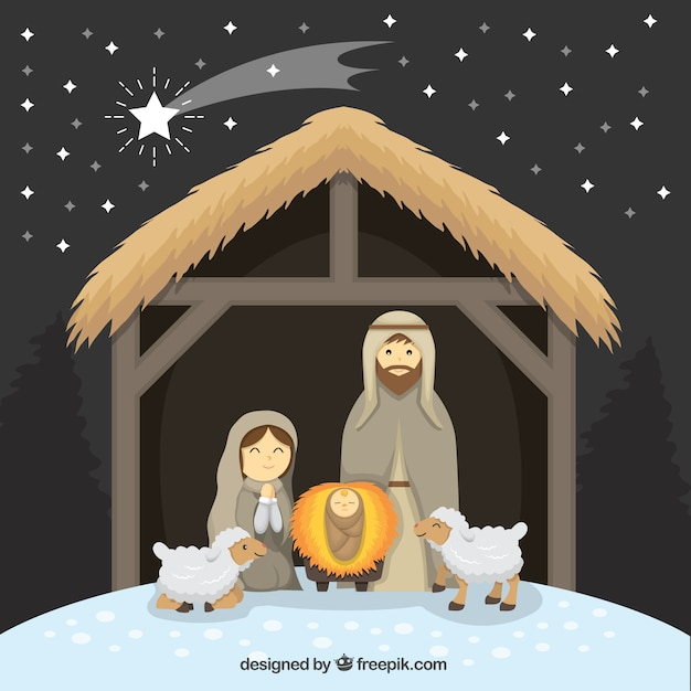 Nativity scene with lovely sheep and shooting star Free Vector