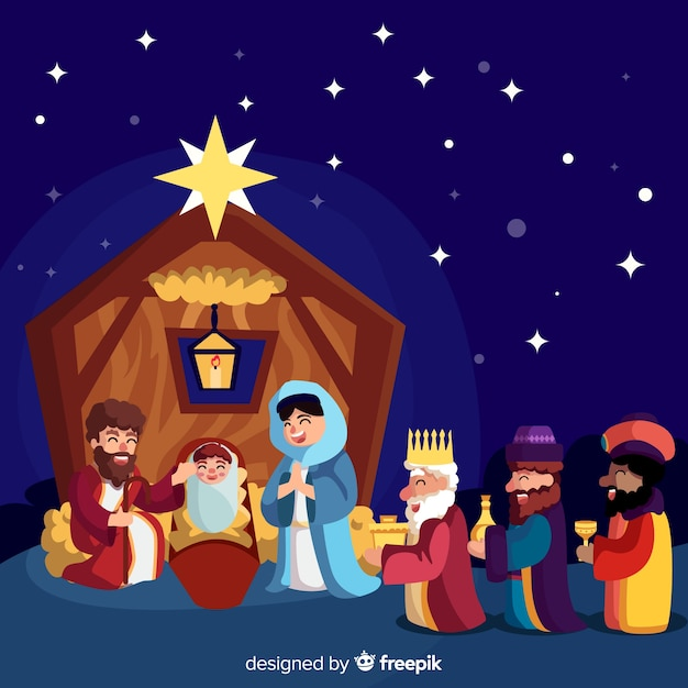 Nativity scene with three wise men Free Vector