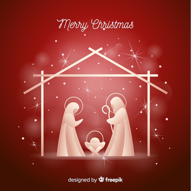 Nativity shiny silhouette background Free Vector