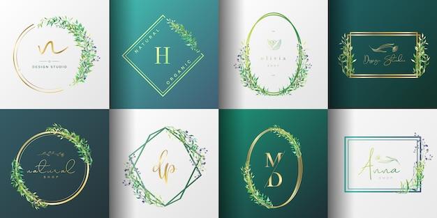 브랜딩, 기업의 정체성, 포장 및 명함을위한 자연 및 유기 로고 컬렉션. 무료 벡터