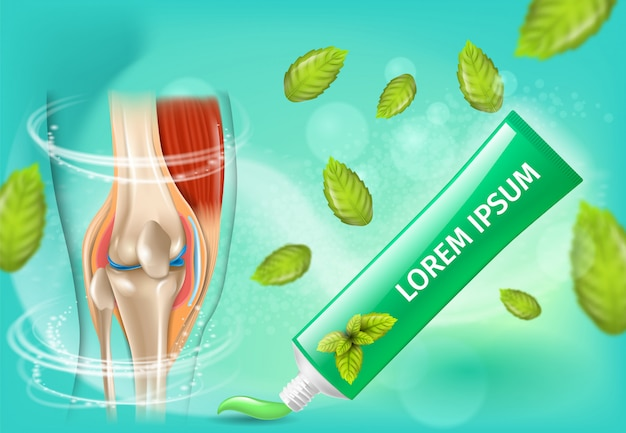 Natural anti arthritis cream promo vector banner Premium Vector