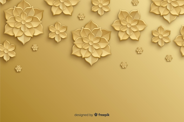 Natural background with 3d golden flowers Free Vector
