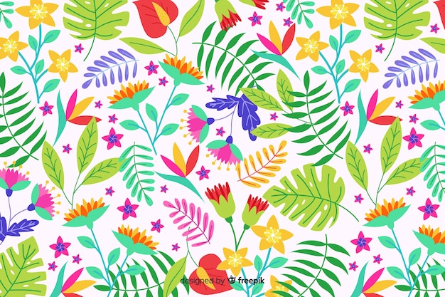 Natural background with colorful exotic floral Free Vector