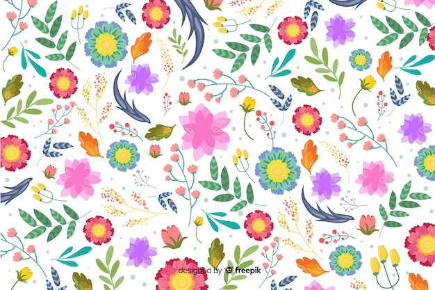 Natural background with colorful exotic flowers Free Vector