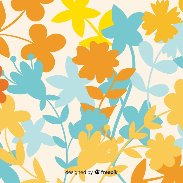 Natural background with colorful floral silhouettes Free Vector