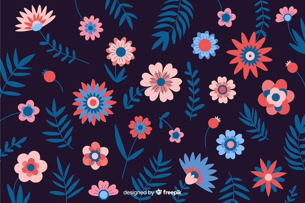 Natural background with colorful flowers Free Vector