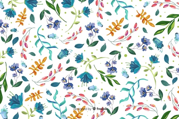 Natural background with colorful painted flowers Free Vector