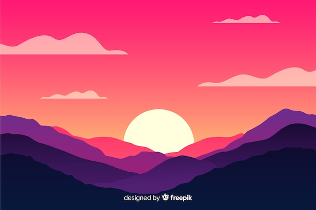 Natural background with mountains landscape and sun Free Vector