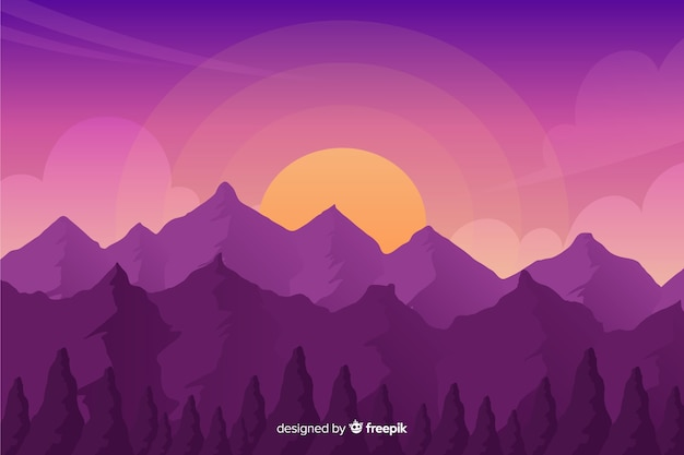 Natural background with mountains landscape Free Vector