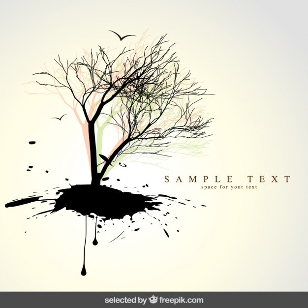 Natural background with tree silhouette Free Vector