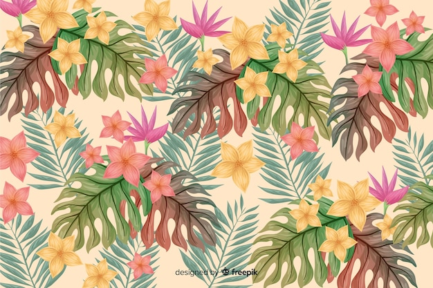 Natural background with tropical flowers Free Vector
