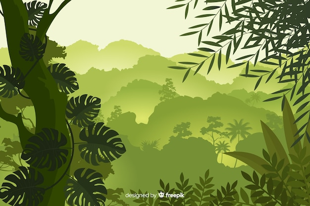 Natural background with tropical forest landscape Free Vector