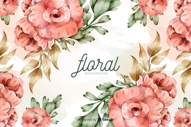 Natural background with watercolor flowers Free Vector