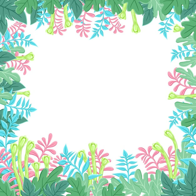 Natural banner with stylized green leaves. spring or summer foliage. Premium Vector