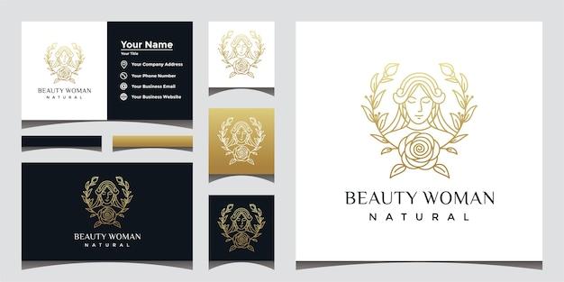 美しいフェイスラインアートスタイルと名刺デザインの自然な美しい女性のロゴ。 Premiumベクター