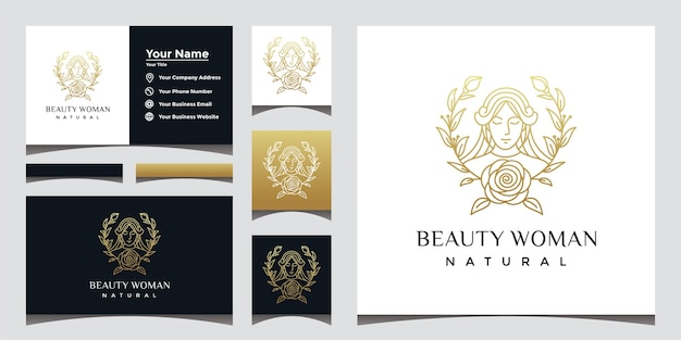 Natural beautiful woman logo with beautiful face line art style and business card design. Premium Vector