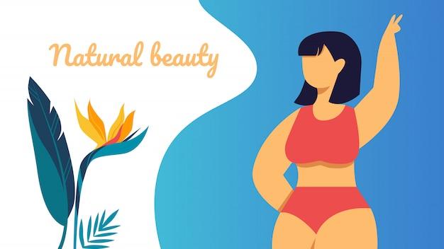 Natural Beauty Banner Happy Plus Size Asian Girl Premium Vector