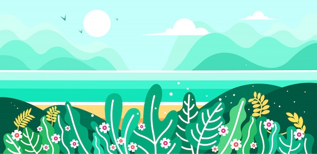 Natural beauty of mountains, beaches and the sea Premium Vector