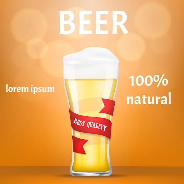Natural beer concept banner, realistic style Premium Vector