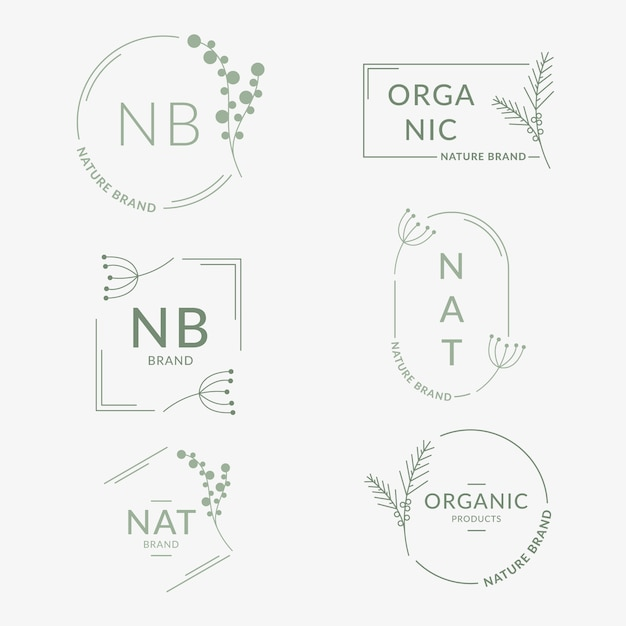 Natural business logo collection in minimal style Free Vector