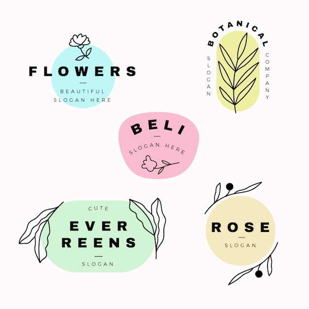 Natural Business Logo Collection In Minimal Style Vector