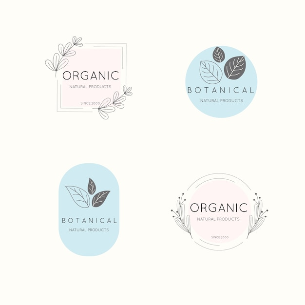 Natural business logo set in minimal style Free Vector