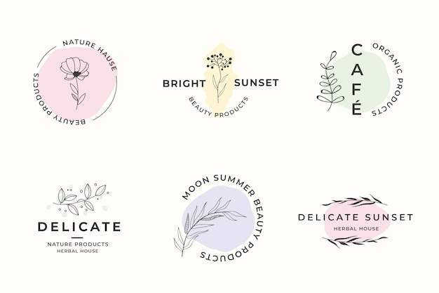 Natural business logo template set in minimal style Free Vector