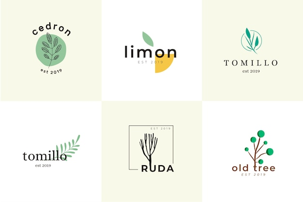 Natural business minimal logo collection Free Vector