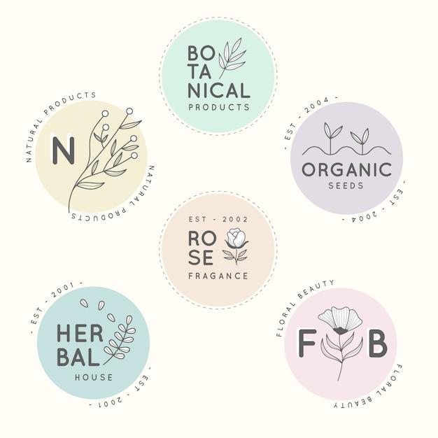Natural business minimal logo set Free Vector