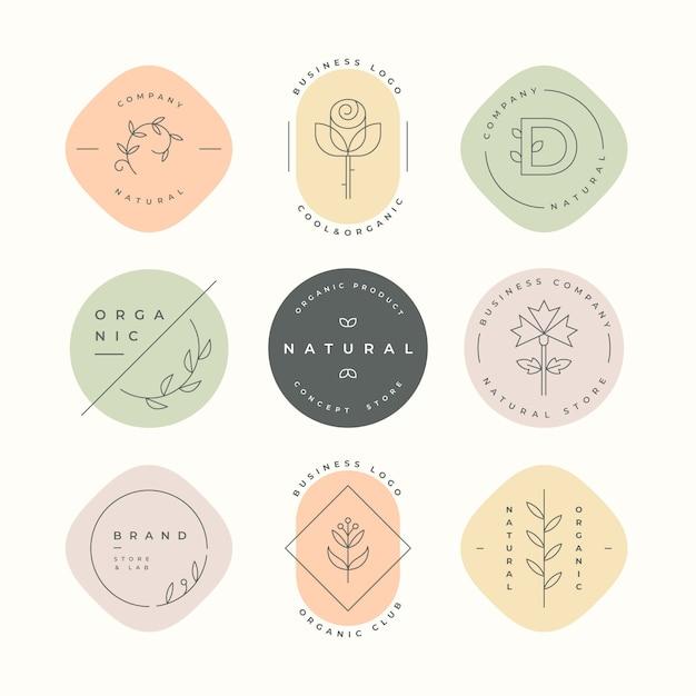 Коллекция логотипов natural business Бесплатные векторы
