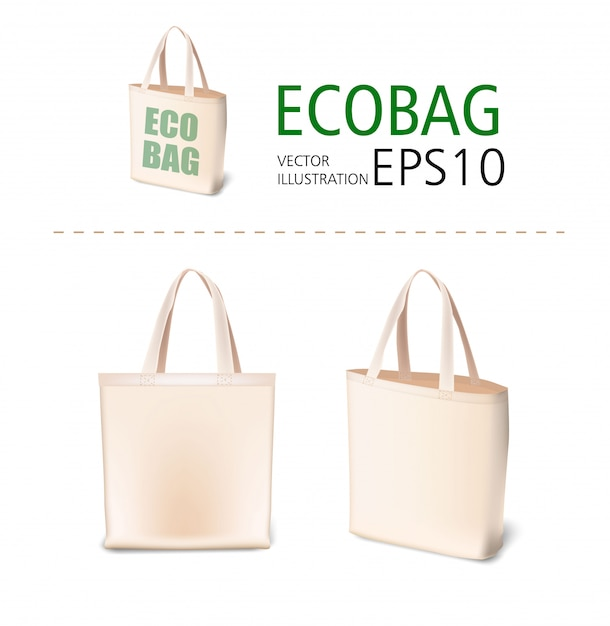 Natural canvas material shopping bags   illustration mockup. eco style realistic bag templates for sale, shopping, promotion, corporate identity, demonstration Premium Vector