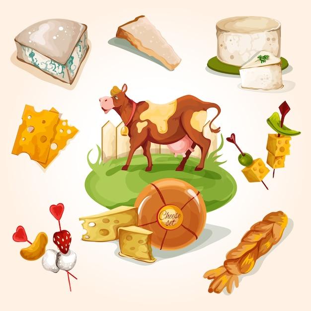 Концепция натурального сыра Бесплатные векторы
