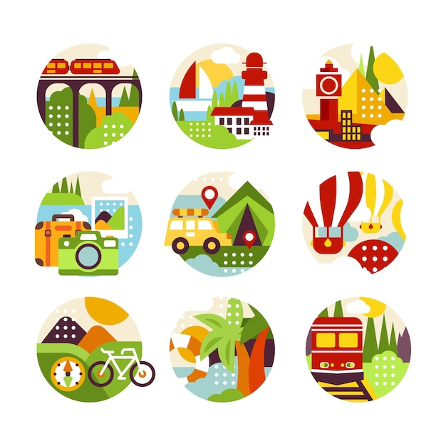 Of natural circle logo with landscape, city view and different types of vehicle in  style. colorful  elements for travel agency, infographic or label.   illustration Premium Vector