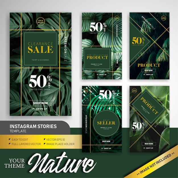 자연 화려한 테마 패션 판매 Instagram 이야기 템플릿 디자인 프리미엄 벡터