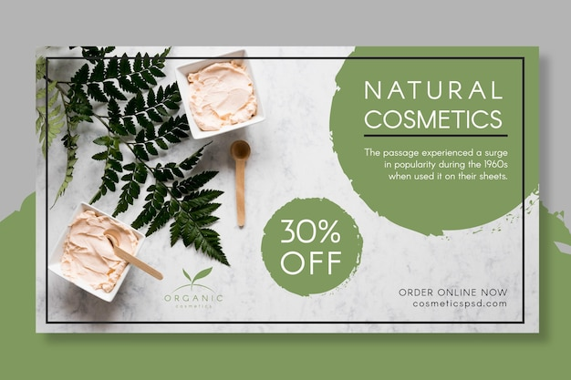 Natural cosmetics banner template with photo Free Vector