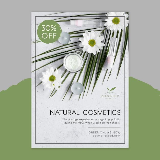 Modello di volantino cosmetici naturali Vettore gratuito