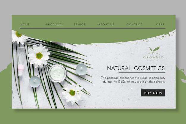 Pagina di destinazione dei cosmetici naturali Vettore gratuito