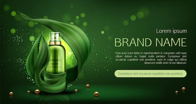 Natural cosmetics skin care lotion banner Free Vector