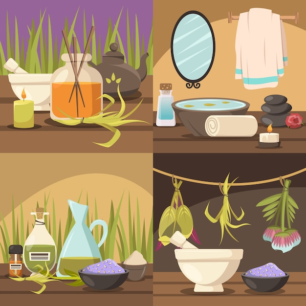 Natural cosmetology scenes collection Free Vector