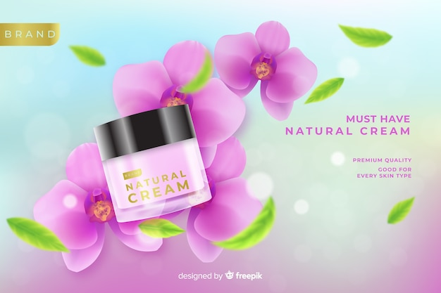 Natural cream ad in realistic style Free Vector