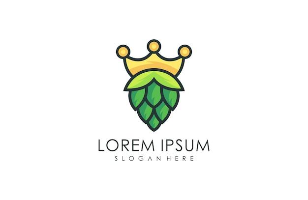 Natural crown brewing logo, natural green leaf logo vector illustration Premium Vector