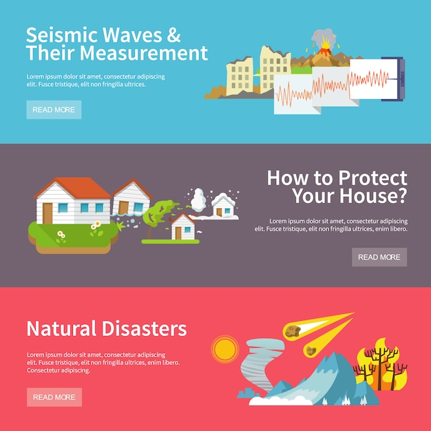 Natural disaster banners Free Vector