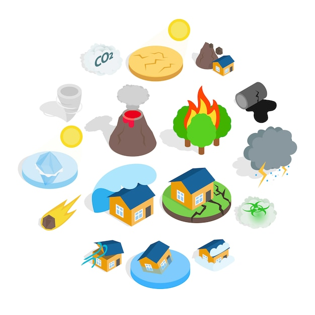 Natural disaster catastrophe icon set Premium Vector