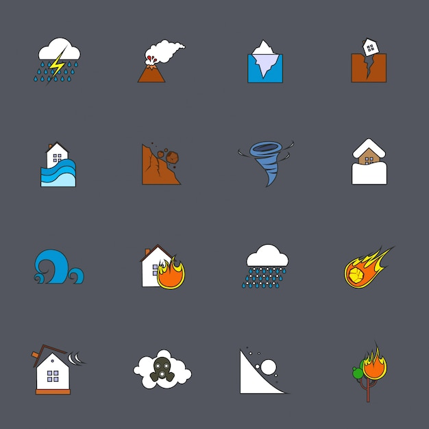 Natural disaster icons flat line Premium Vector