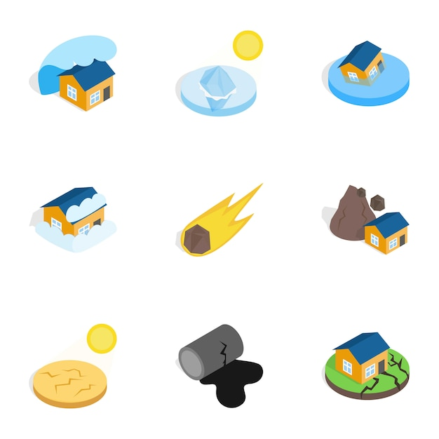 Natural disaster icons, isometric 3d style Premium Vector