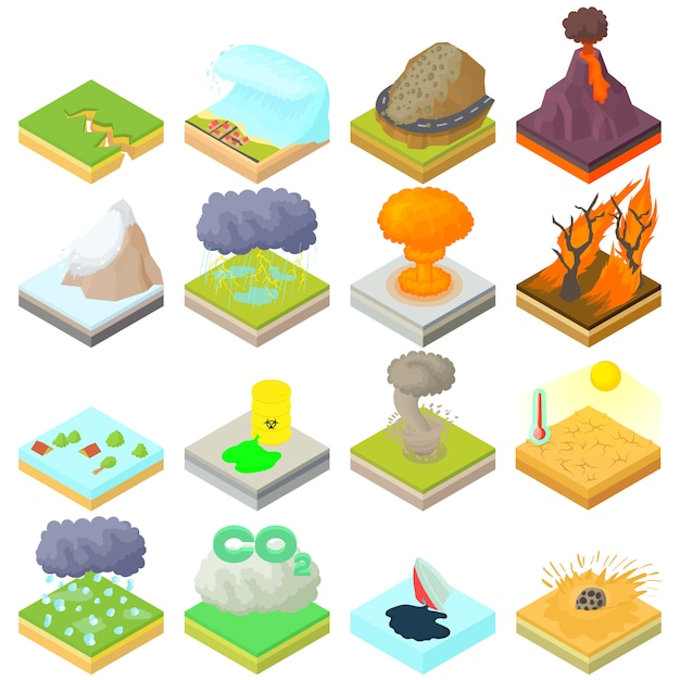 Natural disaster icons set in isometric 3d style Premium Vector