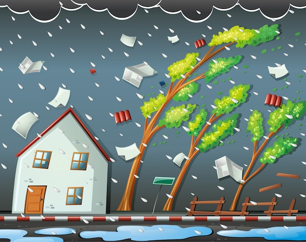 Natural disaster scene with hurricane Free Vector