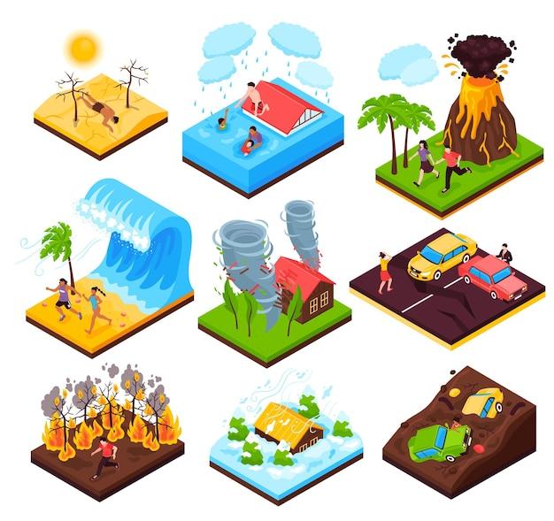 Insieme di disastro naturale delle composizioni isometriche nello tsunami di siccità di tornado dell'inondazione di incendio violento dell'eruzione isolate Vettore gratuito